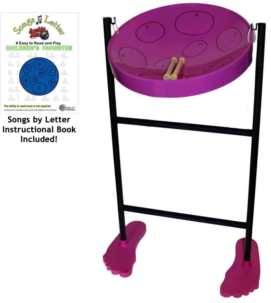 Jumbie Jam Steel Drum Purple w/ Stand and Book
